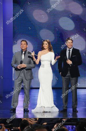 Daniel Sarcos, Marlene Favela, Rafael Amana, hosts of the 2012 Billboard Mexican Music Awards at the Shrine Auditorium, in Los Angeles