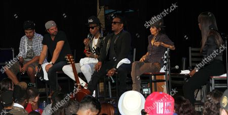 General view of BMI Presents: How I Wrote That Song 2014 with (L-R) Alex Da Kid, Dallas Davidson, Wiz Khalifa, Charlie Wilson, Linda Perry and Catherine Brewton at the House of Blues, in West Hollywood, Calif