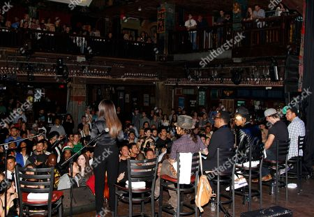 A rear view of BMI Presents: How I Wrote That Song 2014 with (R-L) Alex Da Kid, Dallas Davidson, Wiz Khalifa, Charlie Wilson, Linda Perry and Catherine Brewton at the House of Blues, in West Hollywood, Calif