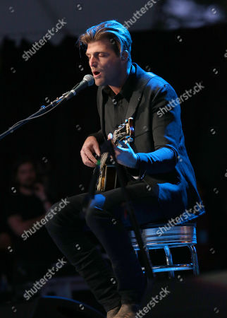 Cubbie Fink of Foster the People performs at the Bridge School Benefit Concert at the Shoreline Amphitheatre, in Mountain View, Calif