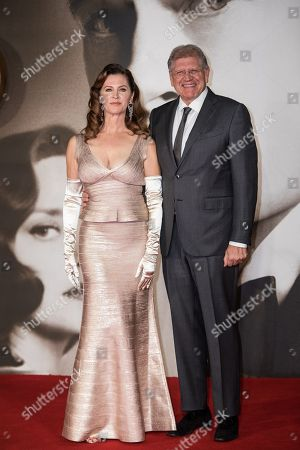 Leslie Zemeckis and Robert Zemeckis pose for photographers upon arrival at the premiere of the film 'Allied' in London