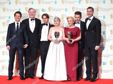 Tom Cruise, Jonathan Sehring, Ellar Coltrane, Cathleen Sutherland, Patricia Arquette, Ethan Hawke and John Sloss celebrate Best Film 'Boyhood' in the winners room, at the British Academy Film and Television Awards 2015, The BAFTAs, at the Royal Opera House, in London