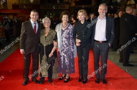 """From left to right, English actor Steve Coogan, English actress Dame Judi Dench, Philomena Lee, Scottish actress Sophie Kennedy Clark and British author Martin Sixsmith arrive at the American Express Gala Screening of """"Philomena"""" at the Odeon West End during the 57th BFI London Film Festival in partnership with American Express, in London"""