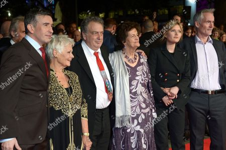 """From left to right, English actor Steve Coogan, English actress Dame Judi Dench, British director Stephen Frears, Philomena Lee, Scottish actress Sophie Kennedy Clark and British author Martin Sixsmith arrive at the American Express Gala Screening of """"Philomena"""" at the Odeon West End during the 57th BFI London Film Festival in partnership with American Express, in London"""