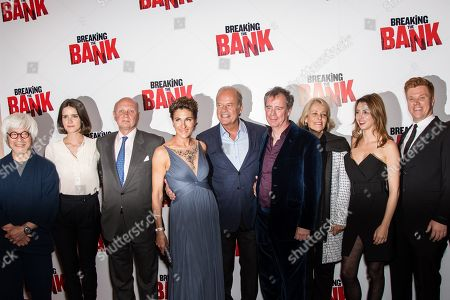 From left, Togo Igawa, Sonya Cassidy, Tamsin Greig, Kelsey Grammer, director Vadim Jean, guest, Julie Dray and Daniel Morgan pose for photographers upon arrival at the premiere of the film 'Breaking the Bank' in London