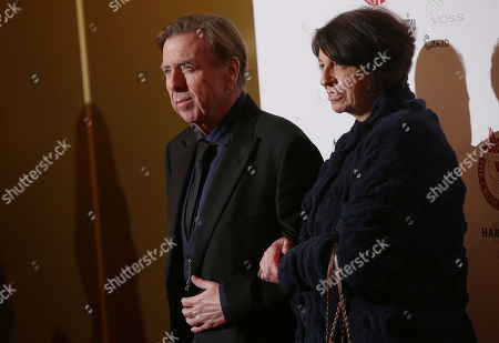 Actor Timothy Spall arrives with wife Shane Spall, at the May Fair Hotel in central London, for the London Critics Circle Film Awards