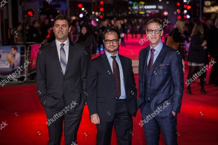"From left, producers David Koplan, Riza Aziz and Joey McFarland pose for photographers upon arrival at the premiere of the film ""Daddy's Home"" in London"