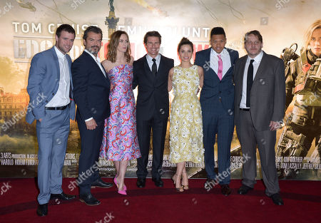 Stock Picture of Jonas Armstrong, Dragomir Mrsic, Emily Blunt, Tom Cruise, Franz Drameh, Tony Way pose for photographers at the Edge Of Tomorrow World Premiere at BFI Imax in London