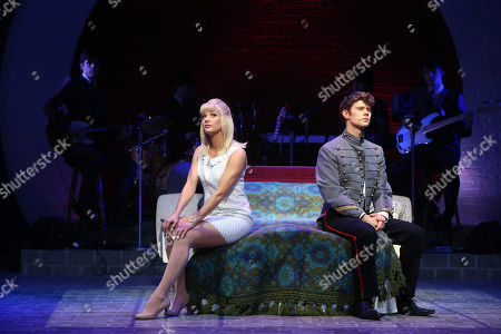 Stock Picture of Tricia Adele-Turner, who plays Jane, and Matthew Wycliffe, who plays Jude, perform a scene from Carnaby Street, a new musical by Bob Thomson, which is set in London's west End in the sixties, at the Hackney Empire in east London