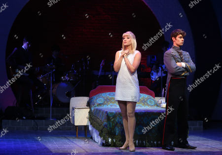 Tricia Adele-Turner, who plays Jane, and Matthew Wycliffe, who plays Jude, perform a scene from Carnaby Street, a new musical by Bob Thomson, which is set in London's west End in the sixties, at the Hackney Empire in east London