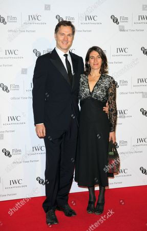 Actor David Morrissey and novelist Esther Freud pose for photographers upon arrival at the British Film Institute London Film Festival Gala Dinner in central London, on