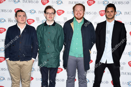 Bombay Bicycle Club (L-R Ed Nash, Jack Steadham, Jamie McColl and Suren de Saram) attend the 60th Ivor Novello Awards at the Grosvenor House in London on