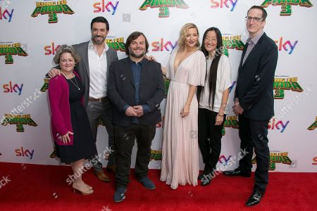 From left, Bonnie Arnold, Director Alessandro Carloni, Jack Black, Kate Hudson, Director Yuh Nelson and Glenn Berger pose for photographers as they arrive for the premiere of Kung Fu Panda 3 at a central London cinema