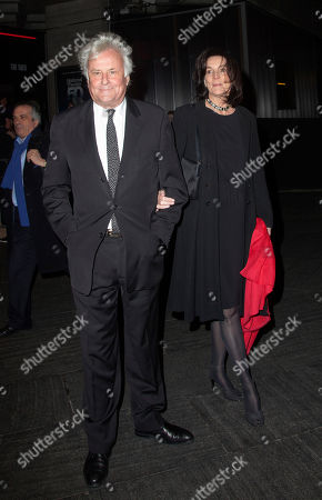 Stock Picture of English director Richard Eyre and wife producer Sue Birtwistle arrive at National Theatre: 50 Years on Stage, a live performance broadcast on television and to cinemas internationally to celebrate the National Theatre's 50th anniversary in London, on