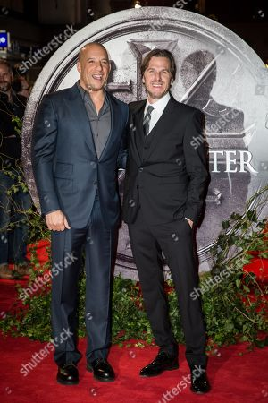 Stock Photo of Vin Diesel and director Breck Eisner pose for photographers upon arrival at the premiere of the film 'The Last Witch Hunter' in London