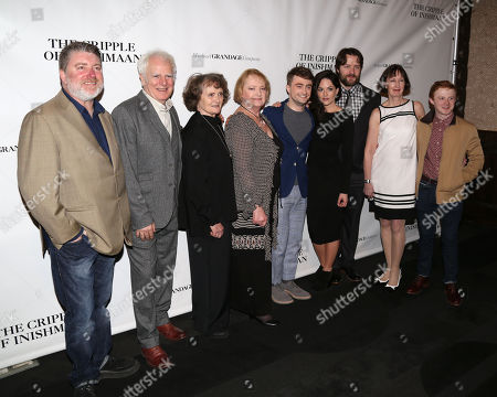 "Stock Photo of From left, cast members Pat Shortt, Gary Lilburn, Gillian Hanna, June Watson, Daniel Radcliffe, Sarah Greene, Padraic Delaney, Ingrid Craigie, and Conor MacNeill attend the opening night party of ""The Cripple of Inishmaan"", in New York"
