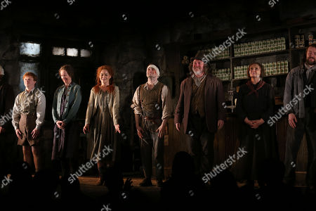 "Stock Image of From left, Conor MacNeill, Ingrid Craigie, Sarah Greene, Daniel Radcliffe, Pat Shortt and Gillian Hanna appear at the opening night curtain call of ""The Cripple of Inishmaan"", in New York"
