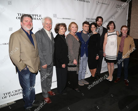 "From left, cast members Pat Shortt, Gary Lilburn, Gillian Hanna, June Watson, Daniel Radcliffe, Sarah Greene, Padraic Delaney, Ingrid Craigie, and Conor MacNeill attend the opening night party of ""The Cripple of Inishmaan"", in New York"