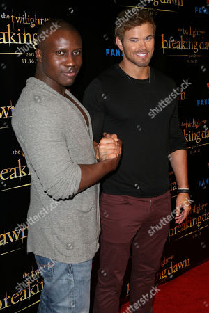"""Amadou Ly, left, and Kellan Lutz arrive at """"The Twilight Saga: Breaking Dawn - Part 2"""" Summit party sponsored by Butterfinger Bites at Comic-Con on in San Diego, Calif"""