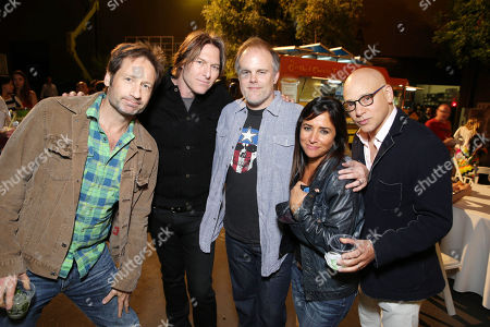 EXCLUSIVE CONTENT - PREMIUM RATES APPLY David Duchovny, Tyler Bates, Creator/Executive Producer Tom Kapinos, Pamela Adlon and Evan Handler seen at the Californication Season 7 Wrap Party, on Saturday, July, 27, 2013 in Los Angeles