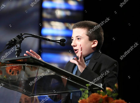 Actor Atticus Shaffer speaks during the 2012 Casting Society of America Artios Awards held at the Beverly Hilton Hotel on in Beverly Hills, Calif
