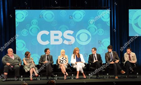 """From left, executive producer/creator Eddie Gorodetsky, producer/creator Gemma Baker, executive producer/creator Chuck Lorre, actors Anna Faris, Allison Janney, French Stewart, Matt Jones and Nate Corddry participate in the """"Mom"""" panel at the 2013 CBS Summer TCA Press Tour at the Beverly Hilton Hotel on in Beverly Hills, Calif"""