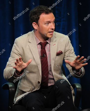 """Actor Nate Corddry participates in the """"Mom"""" panel at the 2013 CBS Summer TCA Press Tour at the Beverly Hilton Hotel on in Beverly Hills, Calif"""
