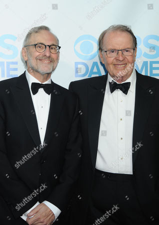 Rand Morrison, at left, and Charles Osgood arrive at The CBS Daytime Emmy Awards Afterparty at the Aqua Star Pool, Beverly Hilton,, in Beverly Hills, CA