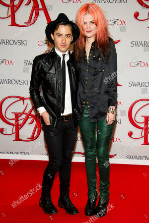 Eddie Borgo and Alison Mosshart arrive at the CFDA Fashion Awards, in New York
