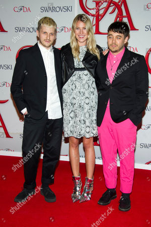 Stock Image of Chris Peters, Dree Hemingway and Shane Gabier arrive at the CFDA Fashion Awards, in New York