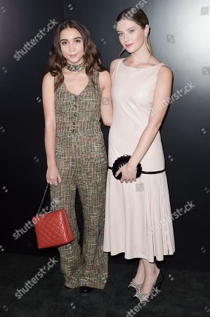 Rowan Blanchard, left, and Zoe Levin seen at the Chanel dinner to celebrate new fragrance No.5 L'EAU with Lily-Rose Depp at Sunset Tower Hotel, in West Hollywood, Calif