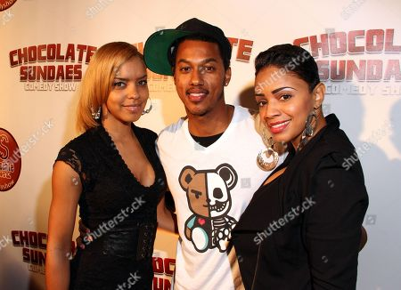 Stock Picture of Actor Wesley Jonathan (C), radio personality Staci Harris (R) and guest attend Chocolate Sundaes Comedy Show Premiere at The Mark For Events, in Beverly Hills, California. Chocolate Sundaes Comedy Show debuts on Showtime Feb 7, 2013