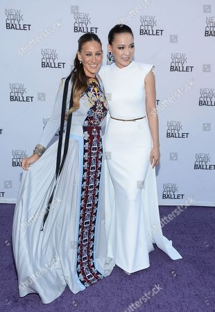 Actress Sarah Jessica Parker and jewelry designer Cindy Chao arrive for the New York City Ballet's Fall Fashion Gala at Lincoln Center, in New York