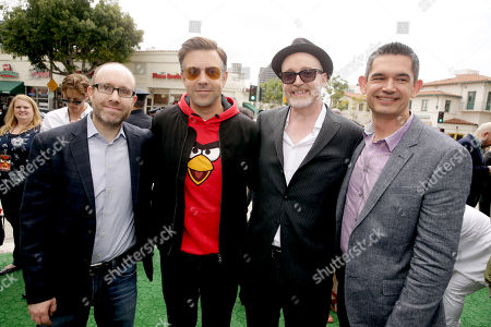 "Producer John Cohen, Jason Sudeikis and Directors Fergal Reilly and Clay Kaytis seen at Columbia Pictures and Rovio Animations Premiere of ""The Angry Birds Movie"" at Regency Village Theatre, in Los Angeles"