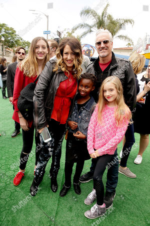 """Joely Fisher, Christopher Duddy and family seen at Columbia Pictures and Rovio Animations Premiere of """"The Angry Birds Movie"""" at Regency Village Theatre, in Los Angeles"""