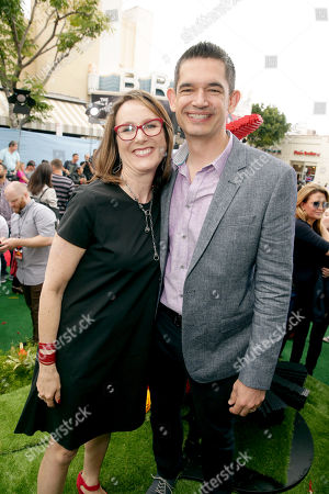 "Producer Catherine Winder and Director Clay Kaytis seen at Columbia Pictures and Rovio Animations Premiere of ""The Angry Birds Movie"" at Regency Village Theatre, in Los Angeles"