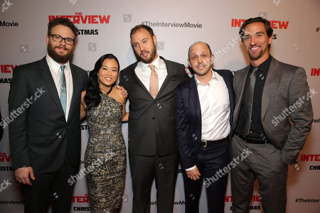 "Director/Producer/Screenwriter Seth Rogen, Diana Bang, Director/Producer/Writer Evan Goldberg, Executive Producer/Writer Dan Sterling and Producer James Weaver seen at Columbia Pictures World Premiere of ""The Interview"", in Los Angeles"