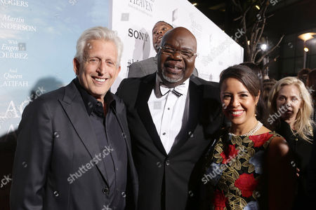 Producer Joe Roth, T.D. Jakes, Founder and CEO of TDJ Enterprises, and Director Patricia Riggen seen at Columbia Pictures world premiere of 'Miracles from Heaven' at ArcLight Hollywood, in Hollywood, CA