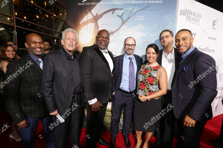 Derrick Williams, EVP of Film and Entertainment of TDJ Enterprises, Producer Joe Roth, T.D. Jakes, Founder and CEO of TDJ Enterprises, Doug Belgrad, President, Sony Pictures Motion Picture Group, Director Patricia Riggen, Tom Rothman, Chairman, Sony Pictures Motion Picture Group, and Producer DeVon Franklin seen at Columbia Pictures world premiere of 'Miracles from Heaven' at ArcLight Hollywood, in Hollywood, CA