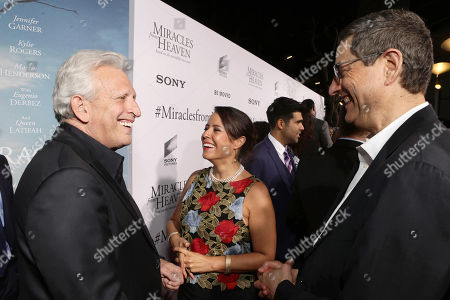 Producer Joe Roth, Director Patricia Riggen and Tom Rothman, Chairman, Sony Pictures Motion Picture Group, seen at Columbia Pictures world premiere of 'Miracles from Heaven' at ArcLight Hollywood, in Hollywood, CA