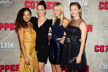"""Stock Picture of Tessa Thompson, from left to right, Franka Potente, Anastasia Griffith and Tanya Fischer attend the premiere of BBC America's """"Copper"""" on in New York"""