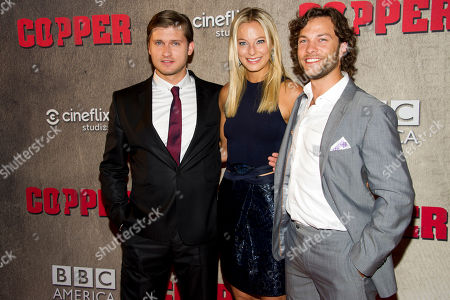 """Tom Weston-Jones, from left to right, Anastasia Griffith and Kyle Schmid attend the premiere of BBC America's """"Copper"""" on in New York"""