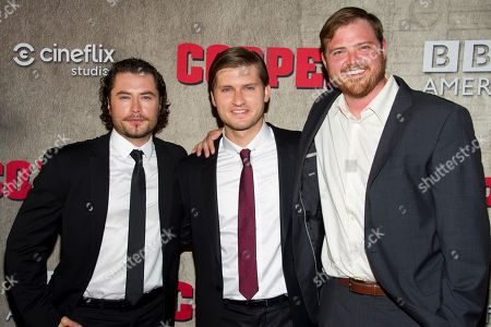 """Stock Photo of Kevin Ryan, Tom Weston-Jones and Dylan Taylor attend the premiere of BBC America's """"Copper"""" on in New York"""