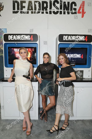"Jessica Harmon, Marie Avgeropoulos and Keegan Connor Tracy seen at Crackle's ""Dead Rising: Endgame"" at the Capcom Booth at 2016 Comic Con, in San Diego, CA"