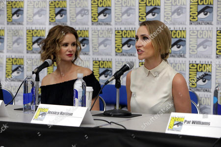 "Keegan Connor Tracy and Jessica Harmon seen at Crackle's ""Dead Rising: Endgame"" panel at 2016 Comic Con, in San Diego, CA"