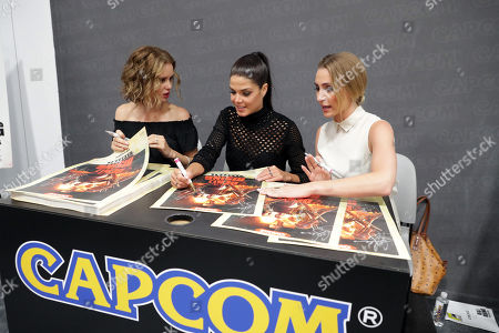 "Stock Image of Keegan Connor Tracy, Marie Avgeropoulos and Jessica Harmon seen at Crackle's ""Dead Rising: Endgame"" at the Capcom Booth at 2016 Comic Con, in San Diego, CA"