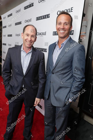 """President of Worldwide Networks, Sony Pictures Television, Andy Kaplan and EVP, Digital Networks, Sony Pictures Television and General Manager, Crackle, Eric Berger seen at Crackle's """"StartUp"""" Premiere at The London West Hollywood, in Los Angeles, CA"""