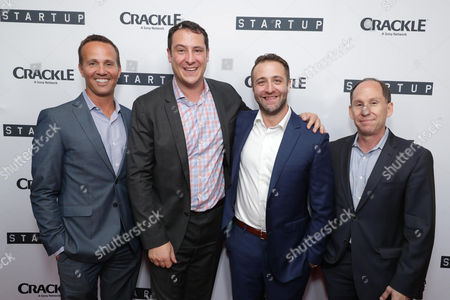 """EVP, Digital Networks, Sony Pictures Television and General Manager, Crackle - Eric Berger, Vice President Head of Digital Development at Crackle, John Orlando, Creator/Director/ Writer/EP Ben Ketai and President of Worldwide Networks, Sony Pictures Television, Andy Kaplan seen at Crackle's """"StartUp"""" Premiere at The London West Hollywood, in Los Angeles, CA"""