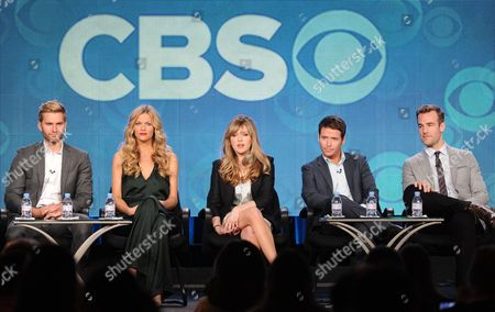 """Stock Image of From left, cast members Rick Donald, Brooklyn Decker, Majandra Delfino, Kevin Connolly and James Van Der Beek participate in the """"Friends With Better Lives"""" panel at the CBS Winter TCA Press Tour, on at the Langham Huntington, in Pasadena, Calif"""