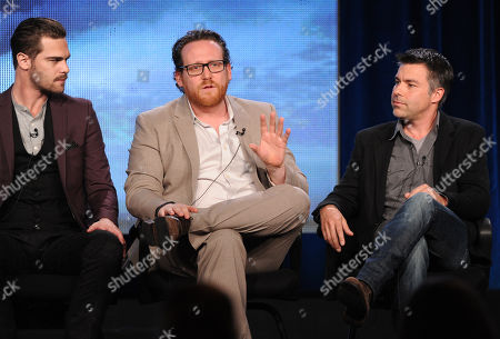 """From left, cast members Grey Damon and Josh Applebaum and executive producer Andre Nemec participate in the """"Star Crossed"""" panel at the CBS Winter TCA Press Tour, on at the Langham Huntington, in Pasadena, Calif"""
